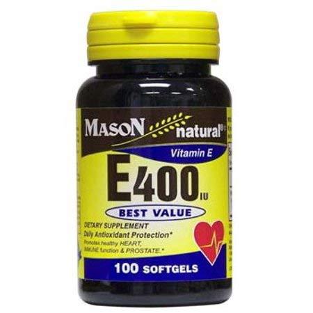 Mason Vitamins Natural Vitamin E 400 IU Softgels, 100 Ct (Pack of 5)