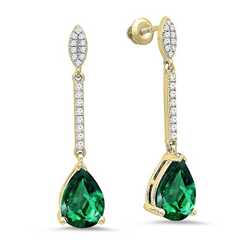 Dazzlingrock Collection 10K 10X7 MM Each Pear Lab Created Emerald & Round Diamond Ladies Dangling Earrings, Yellow Gold ()