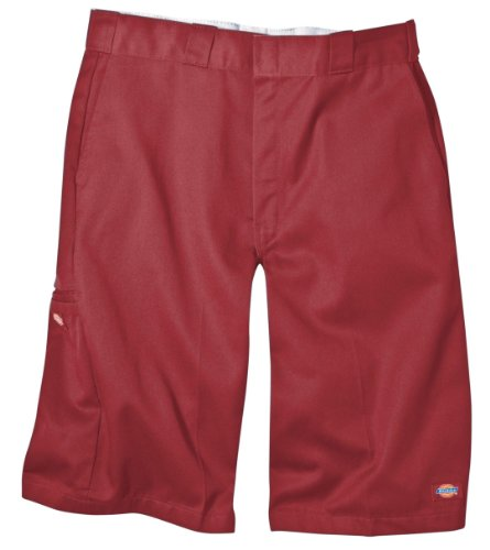 Dickies Men's 13 Inch Loose Fit Multi-Pocket Work Short, English Red, 42]()