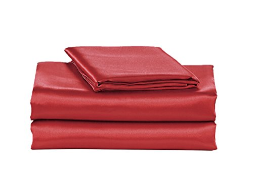 EliteHomeProducts EHP Super Soft and Silky Satin Sheet Set (Solid/Deep Pocket) (Full, Red)