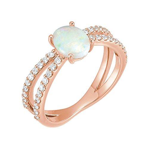- Gemstone rings, 14K Rose Opal & 1/3 CTW Diamond Ring