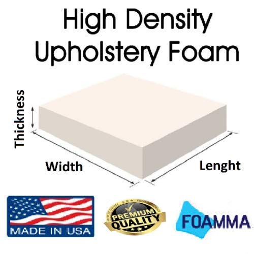 FOAMMA 1'' x 24'' x 72'' High Density Upholstery Foam Cushion,Seat Replacement, Upholstery Sheet, Foam Padding Made in USA!!! by foamma
