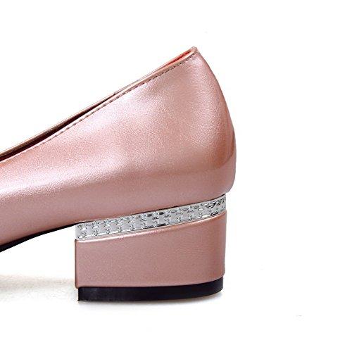 AllhqFashion Damen Spitz Zehe Lackleder Eingelegt Ziehen auf Pumps Schuhe Pink