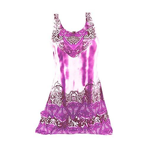2530f41d17 FANOUD Plus Size Vintage Print Vest T Shirt Women Big Wave Print Casual  Sleeveless Tops Purple