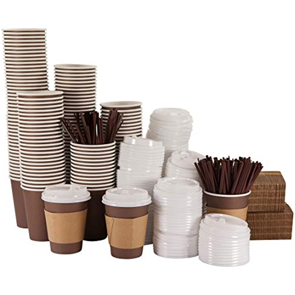 140 Pack - 12 Oz Disposable Hot Paper Coffee Cups With ...