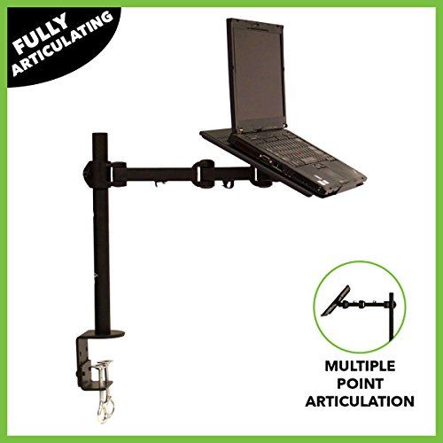 Swing Arm Lcd Triple Adjustable (NavePoint Laptop Notebook C-Clamp Desk Stand Mount With Fully Adjustable Extension Arm Black)