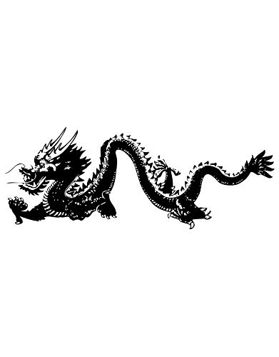 Stickerbrand Chinese Dragon Wall Decal Sticker Asian Decor Vinyl Wall Art. - Black Color 21in x 55in. #MMartin146s (Vinyl Dragon Chinese)