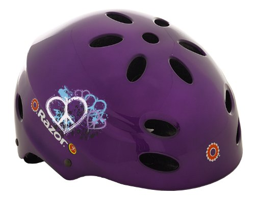 Razor V-17 Child Multi-Sport Helmet, Peace Gloss Purple by Razor