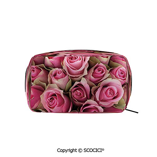 (Rectangle Portable makeup organizer Cosmetic Bags Blooming Fresh Pink Roses Festive Bridal Bouquet Romance Sweetheart Valentine Decorative Printed Storage Bags for Women Girls)