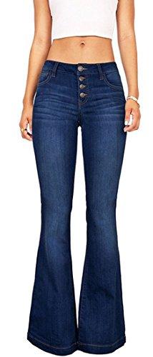 Womens Fashion High Waist Bell Bottom Slimming Denim Jeans Wide Leg Pants Blue Blue 5 US (Ladies High Waist Fashion)