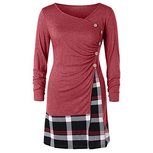 TWGONE Plaid Dress For Women Plus Size Aline Buttons Long Tunic T-shirt Tops ()