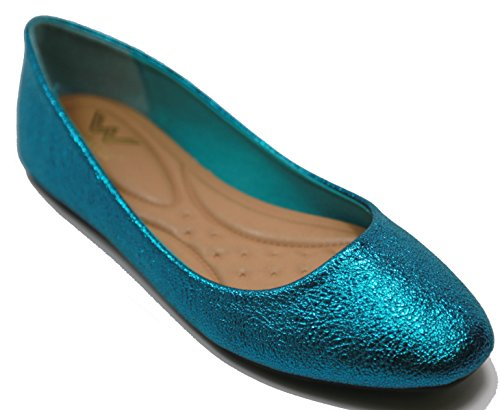 Walstar Womens Ballet Flat shoes Slip On(TURQUOISE, SHIMMER GLITTER,9)