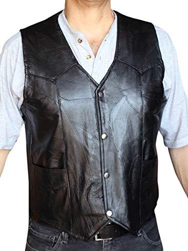 Men's Motorcycle Vest Genuine patchs Leather Black syle 950P_s