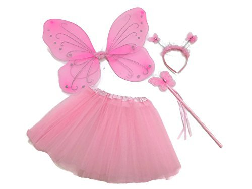 Snowflake Fairy Wings (Rush Dance Pink Ballerina Butterfly Princess Fairy- Wings, Wand, Headband & Tutu (Kids (2-8 Years Old), Pink Butterfly))