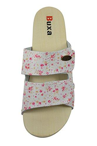 Buxa Sandalias / Zuecos para Mujer con Doble Velcro Correa, Suela de Madera y Caucho Pequeño Flores