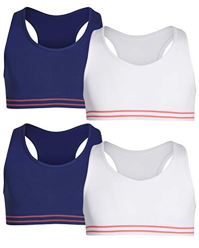 (Only Girls by Rene ROFE Girl Seamless Criss Cross Racerback Sports Bra, (4 Pack) (X-Large - 14, Navy/White)')