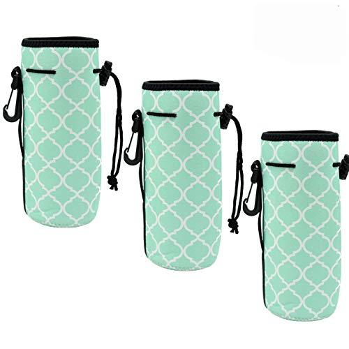 Soda Single Bottle - Af-Wan Water Bottle Cooler Carrier for 16oz - 20oz Water Bottle,Protable Neoprene Insulated Water Drink Bottle Cover Sleeve Tote Bag Pouch Holder Strap.(3pcs) (Hot Green)