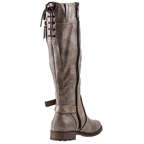 Mustang Lace Up Knee High Donna Stivali