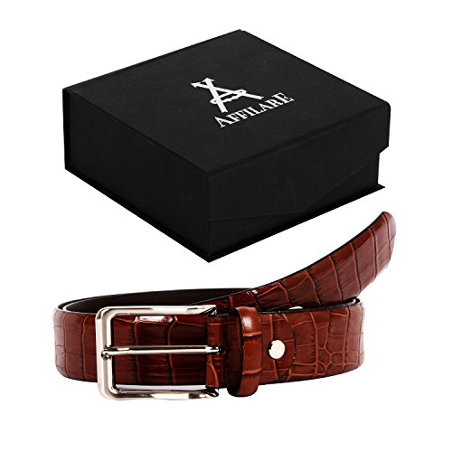 35-36 Affilare Men's Genuine Italian Leather Dress Belt 35mm Brown 12CFTD187BR from Affilare
