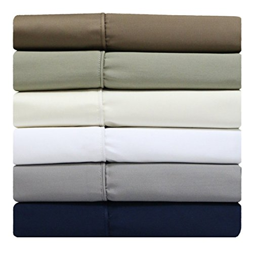 Solid Grey Split-Top -King: Adjustable King Bed Size Sheets, 4PC Bed Sheet Set, 100% Cotton, 300 Thread Count, Sateen Solid, Deep Pocket