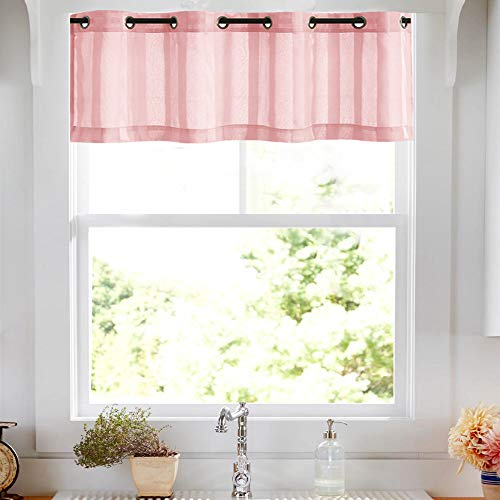 (Striped Valance Sheer Light Filtering Bedroom Sheer Window Curtain Panels 14 inch Length Drapes Grommet Top, 1 Panel, Pink)