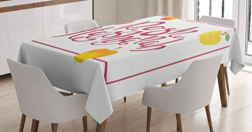 - Ambesonne Rosh Hashanah Tablecloth, Israel New Year Text Fruity Theme Pomegranate Apples Frame Style, Dining Room Kitchen Rectangular Table Cover, 60 W X 90 L Inches, Pale Ruby Mustard Green