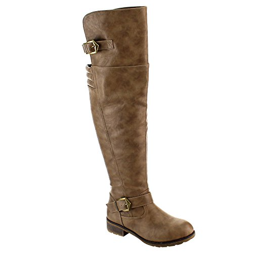 Nature Breeze FE58 Damen Schnalle Ribbed Overknee Reitstiefel Taupe