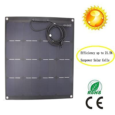 GreeSonic SunPower Semi Flexible Solar Panel 50W (ETFE+Fiberglass) Photovoltaic Solar Panel (Corrosion-resistant) with MC4 connectors