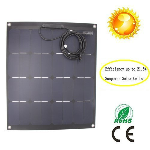 GreeSonic SunPower Semi Flexible Solar Panel 50W Fiberglass (ETFE+PCB ) Photovoltaic Solar Panel (Corrosion-resistant) with MC4 connectors (Glass Roof Panels compare prices)