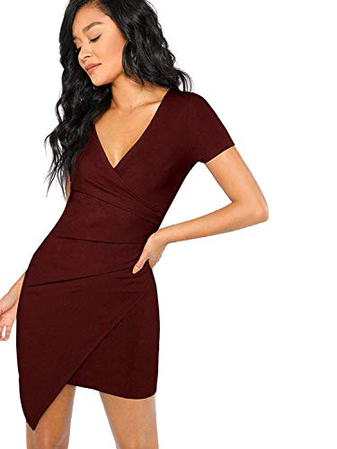 46909326062 Milumia Women s Elegant Short Sleeve V Neck Solid Surplice Wrap Slim Fit  Dress