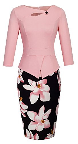 HOMEYEE Women's Elegant Chic Bodycon Formal Dress B288 (L, A-Light Pink) (Elegant Womens Dresses)