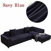 DANSUNREVE Universal Sofa Cover For L Shape, Polyester Fabric Stretch Slipcover, 2pcs Cushion cover, Solid Color