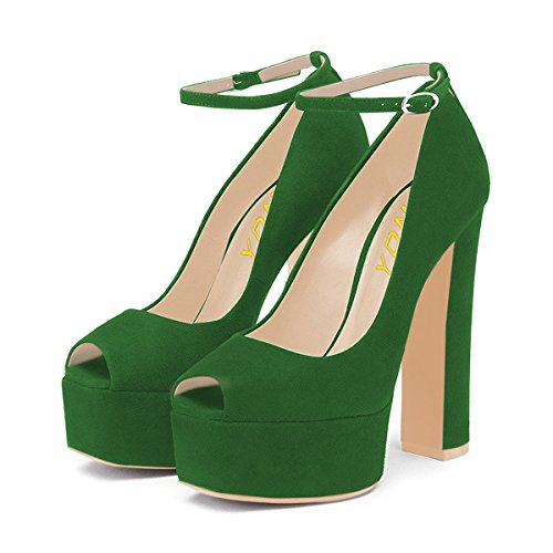 YDN Women Peep Toe Extreme High Chunky Heel Platform Pumps Ankle Strap Prom Dress Shoes Green -