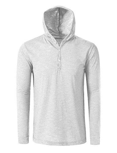 ster Henley Neck Stripe Hoodie T-Shirts M White (Sleeve Striped Henley Hoodie)