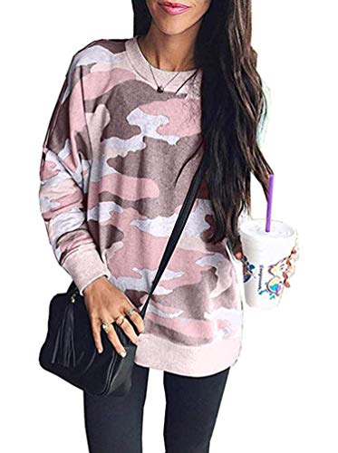 - Sweatshirts for Women, Army Camouflage Print Long Sleeve Tee Shirt Casual Cotton Tunic Blouse Tops Plus Size Pink S