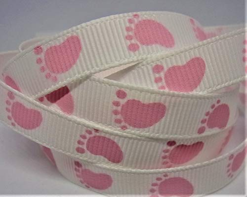 Grosgrain Ribbon - White with Pink Baby Feet Print - 3/8