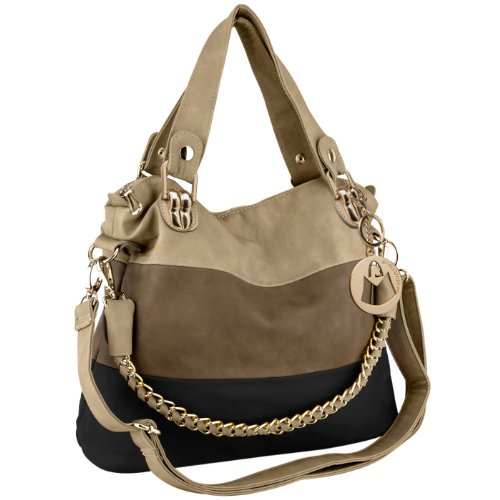 MG Collection Ece Tri-Tone Hobo Handbag, Black, One Size: Handbags ...