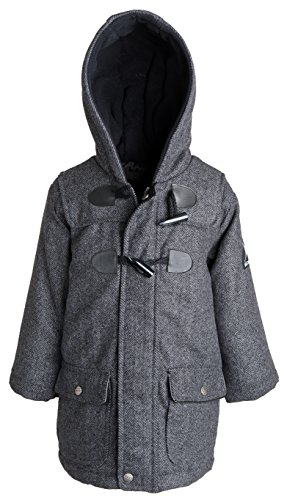 Big Chill Little Boys Wool Look Herringbone Padded Fully Lined Toggle Dress Coat - Grey (Size ()