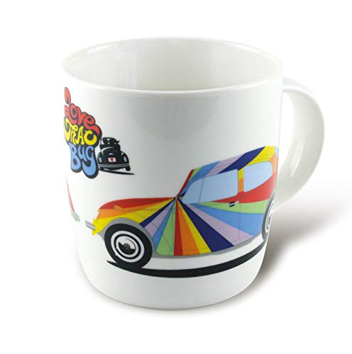 VW Collection by BRISA Beetle Coffee Mug Rainbow Stripes Official VW Licensed ()