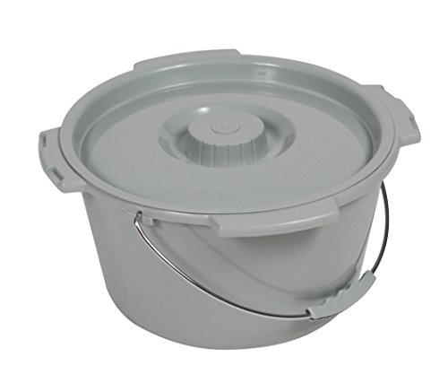 Bariatric Commode Bucket - Drive Medical Commode Bucket with Metal Handle and Cover - Each