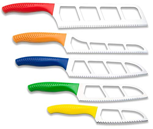 Easy Slice Five Knife Pack Set With Scalloped Double Serrations