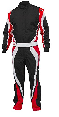 K1 Race Gear Speed 1 CIK/FIA Level 2 Approved Kart Racing Suit (Red/White/Black, Large/X-Large)