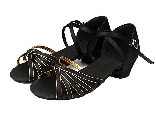 Nazionale Scarpe Nero Tacchi Ballo Seta Latino Sandalo Standard Scarpa Ballo Womens da Bassi WYMNAME P1q5pP