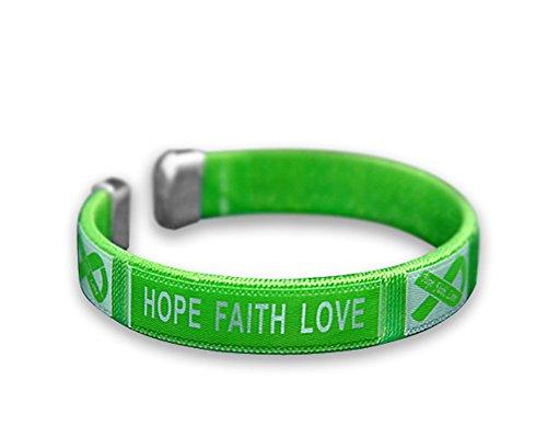 (Cerebral Palsy Awareness Green Ribbon Bangle Bracelet)