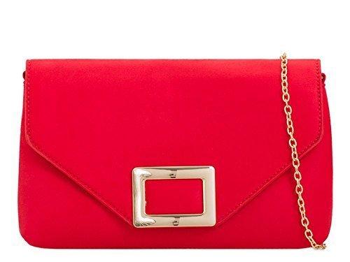 Femmes Medium Sac daim DIVA à or pour haute carré Rouge pochette NEUF faux main Fuchsia chaîne 'S décoration lanière TqP8wB7