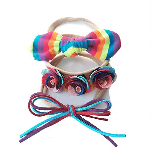 air-SMART Baby Girls Toddler 3PCs a Set Soft Bowknot Kids Elastic Headbands Hair Band Bow Newborn Hair Accessories