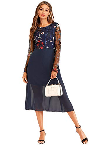 (Milumia Women's Round Neck Floral Embroidered Mesh Sheer Long Sleeve Dress)