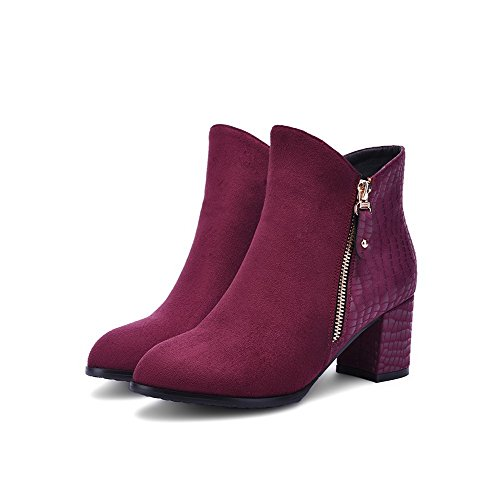 AgooLar Women's Round Closed Toe Kitten Heels Soft Material Low-Top Solid Boots Claret m0wzvaL97