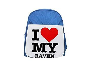 Mochila con diseño de I Love My Raven para niños, color azul, bonita mochila, bonita mochila ...