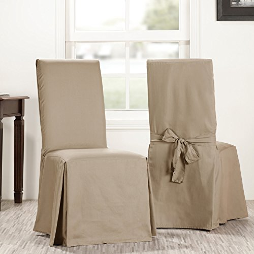 Half Price Drapes Prct-S09-CC-L-PR Solid Cotton Chair Covers (Sold As Pair), Sandstone (Chair And A Half Covers)